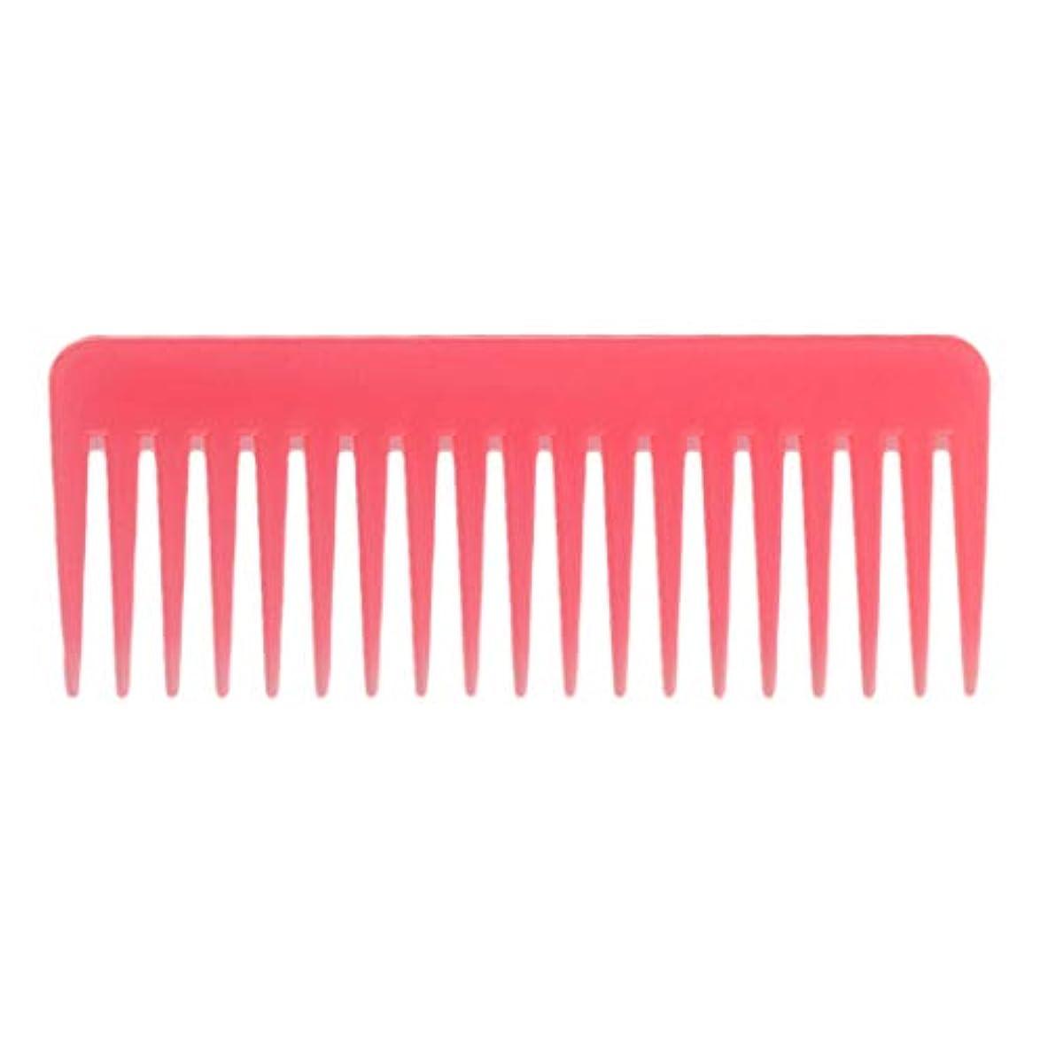 百万引き受けるヒール巻き毛の太い髪用の広い歯のもつれのくしサロンシャンプーヘアブラシくし、6.1 ' - ピンク