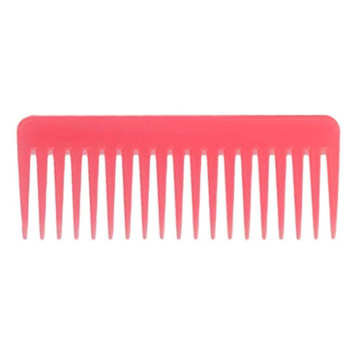 トラフ憂鬱努力巻き毛の太い髪用の広い歯のもつれのくしサロンシャンプーヘアブラシくし、6.1 ' - ピンク