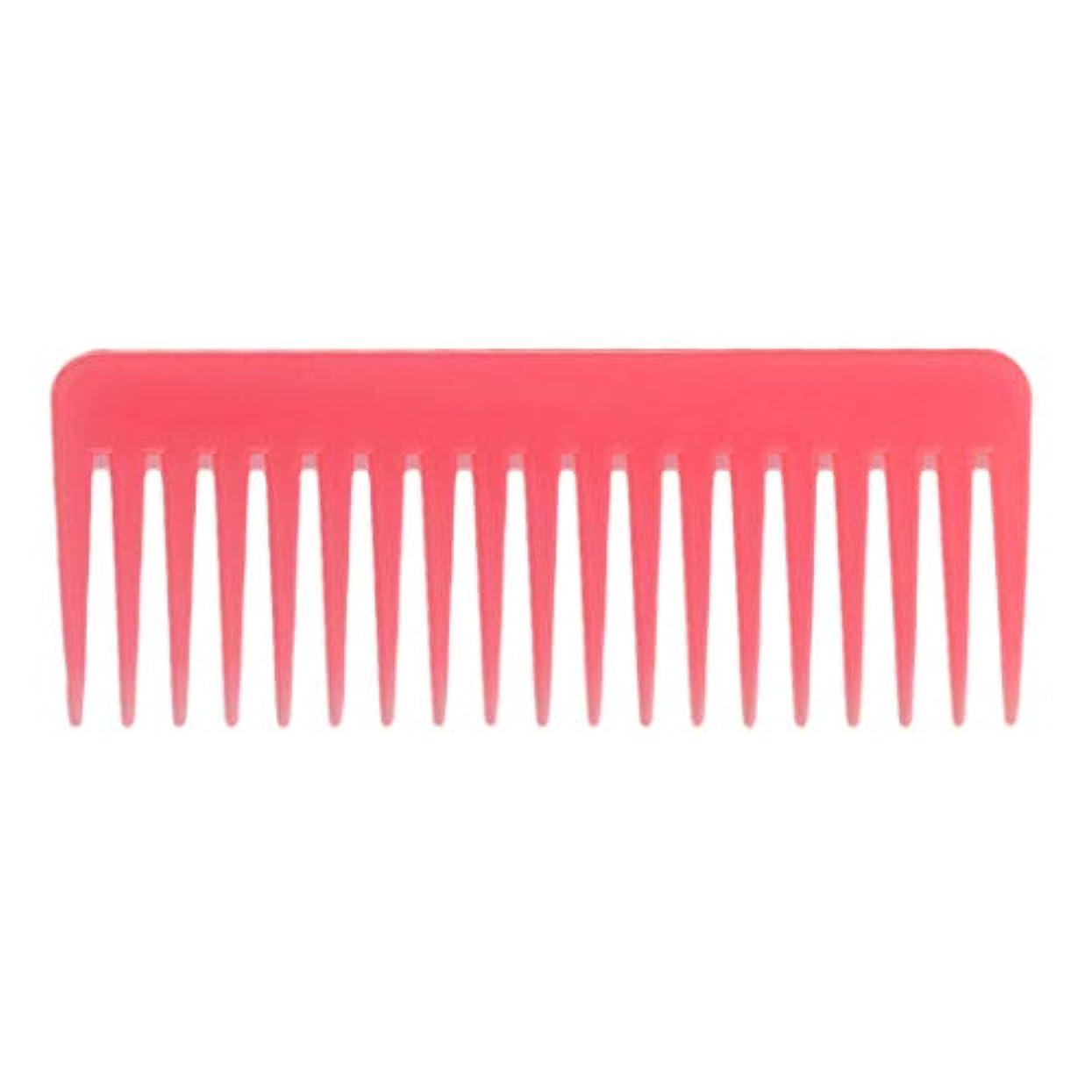 脇にハイライト石のToygogo 巻き毛の太い髪用の広い歯のもつれのくしサロンシャンプーヘアブラシくし、6.1 ' - ピンク