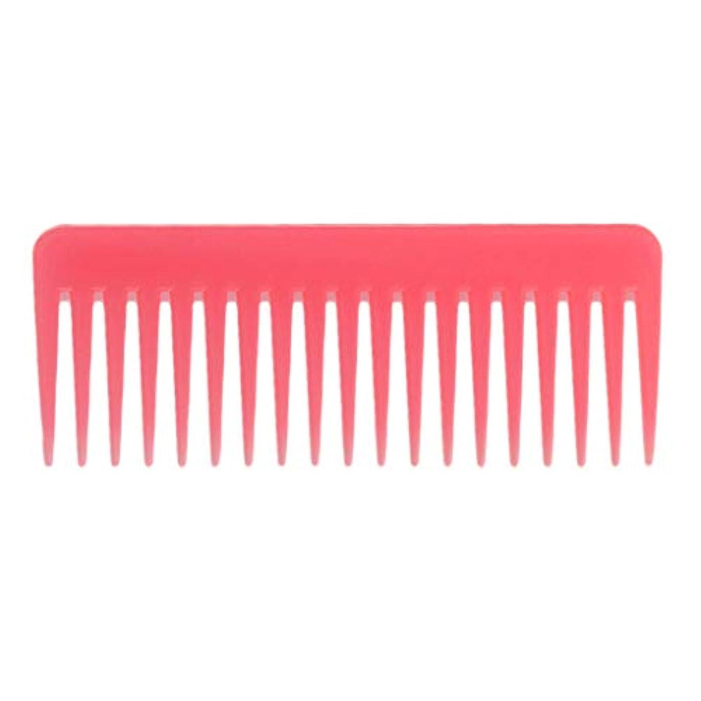 Toygogo 巻き毛の太い髪用の広い歯のもつれのくしサロンシャンプーヘアブラシくし、6.1 ' - ピンク