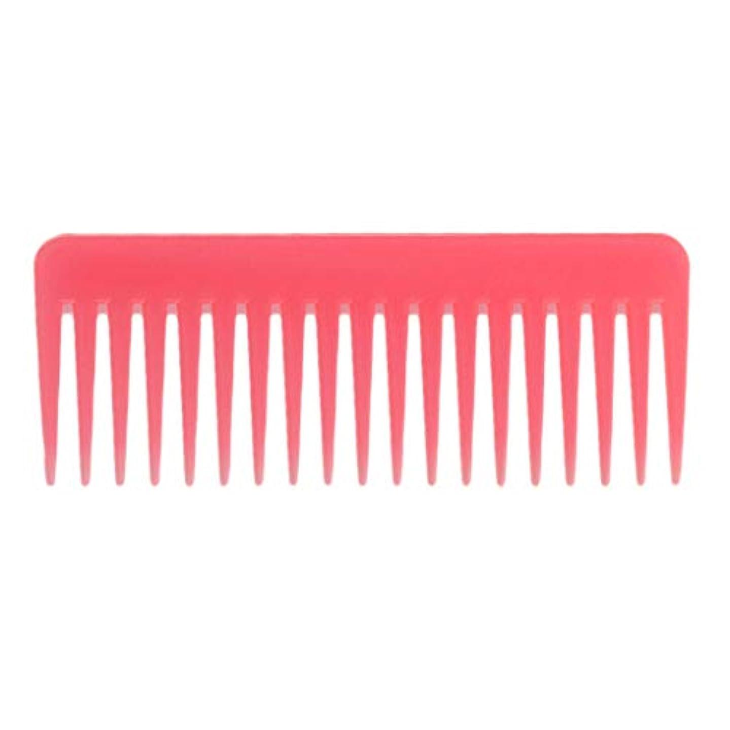 暴露矢印警告する巻き毛の太い髪用の広い歯のもつれのくしサロンシャンプーヘアブラシくし、6.1 ' - ピンク