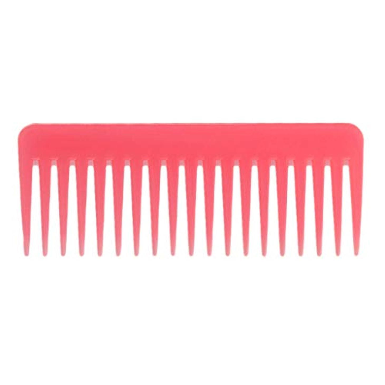 理容師増強する感じ巻き毛の太い髪用の広い歯のもつれのくしサロンシャンプーヘアブラシくし、6.1 ' - ピンク