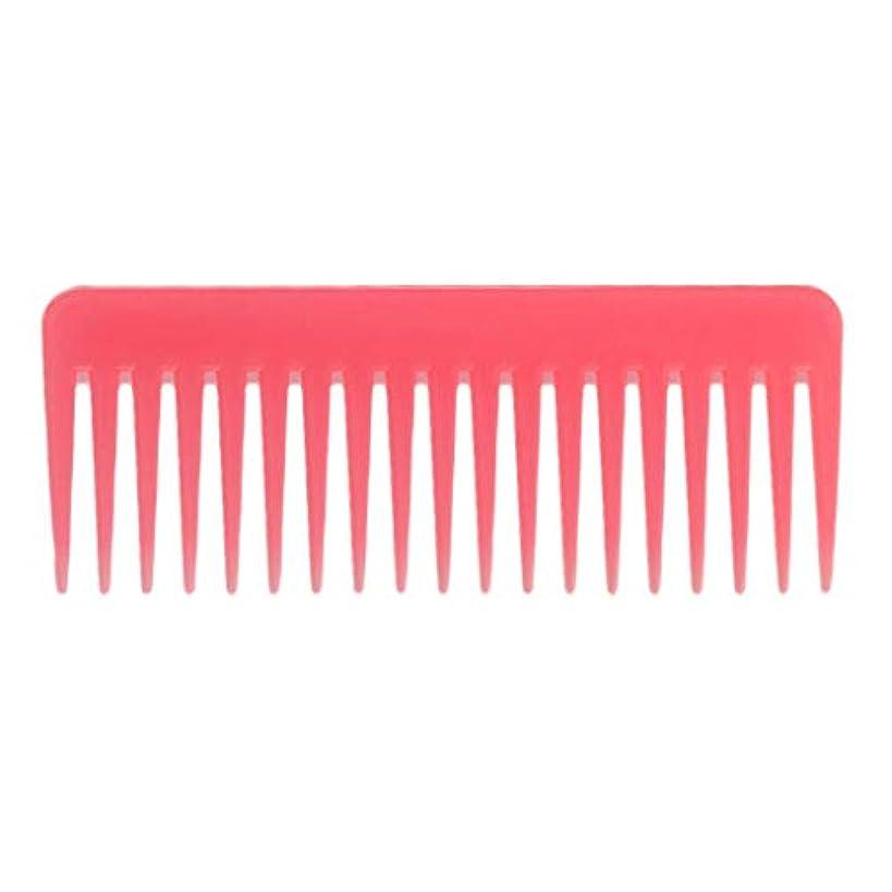 補正ベーリング海峡なんでも巻き毛の太い髪用の広い歯のもつれのくしサロンシャンプーヘアブラシくし、6.1 ' - ピンク