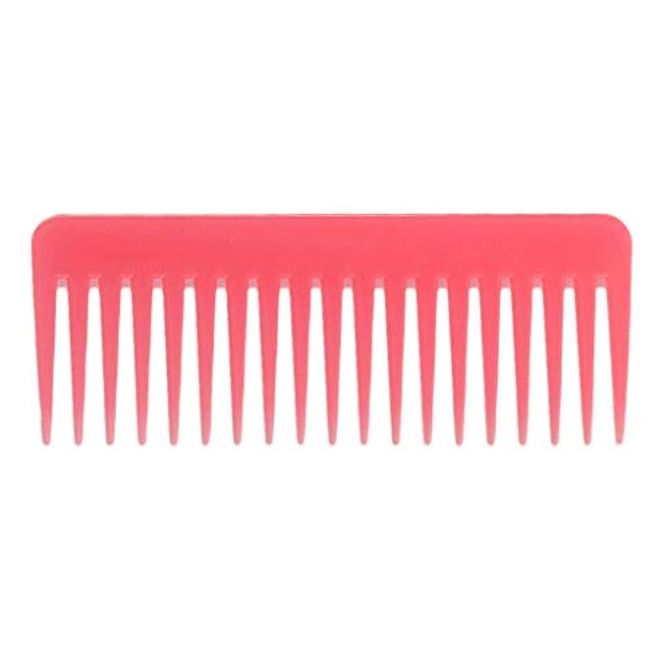 スロット標高お尻巻き毛の太い髪用の広い歯のもつれのくしサロンシャンプーヘアブラシくし、6.1 ' - ピンク