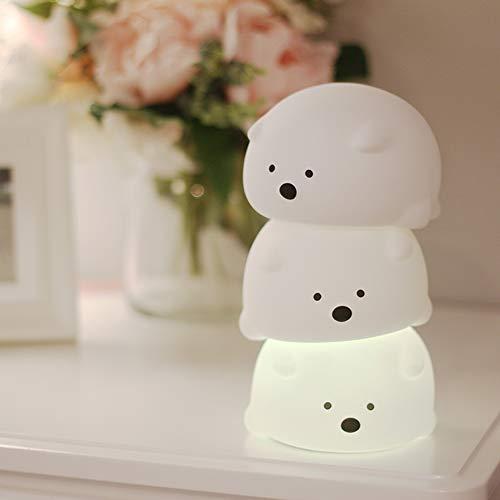 ナイトライト ベッドサイドランプ Miyasora 萌え熊ちゃん呼吸ランプ 7色変化 シリコンランプ 夜間ライト LEDナイトライト 常夜灯 USB充電