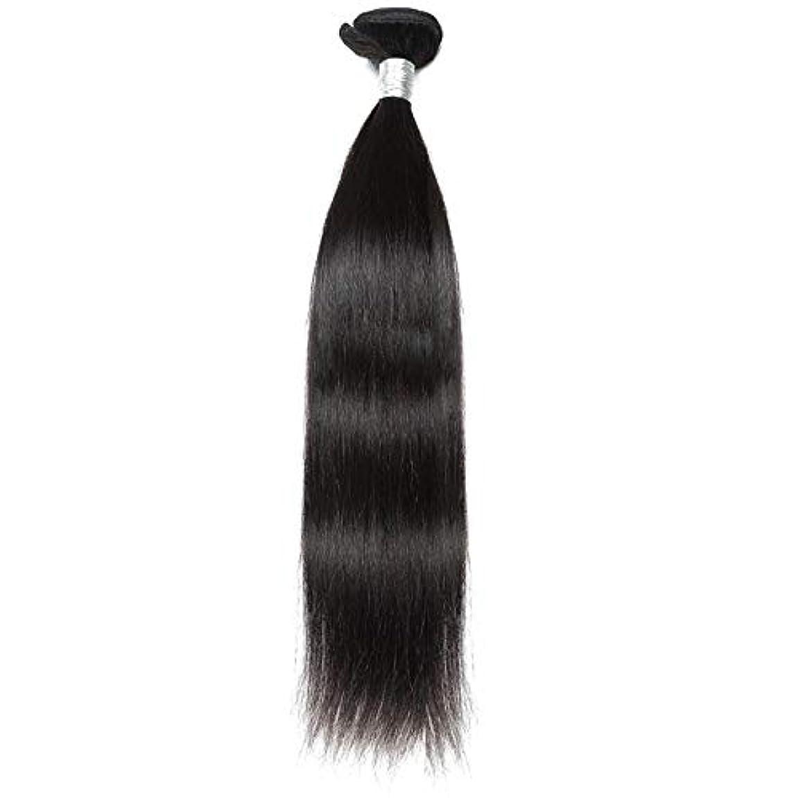 嵐が丘リングレット上級WASAIO ブラジルのバージン毛なめらかな単純明快な人間が1つのバンドルナチュラルカラーの拡張バンドルを編む(10インチ?26インチ) (色 : 黒, サイズ : 12 inch)