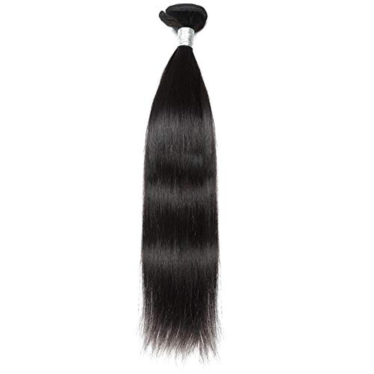 霜筋肉のダンスHOHYLLYA ブラジルのバージンヘア9Aグレード絹のようなストレート人間の髪の毛の織り方1バンドルナチュラルカラーヘアエクステンション(10インチ-26インチ)合成髪レースかつらロールプレイングウィッグストレートシリンダーショートスタイル...
