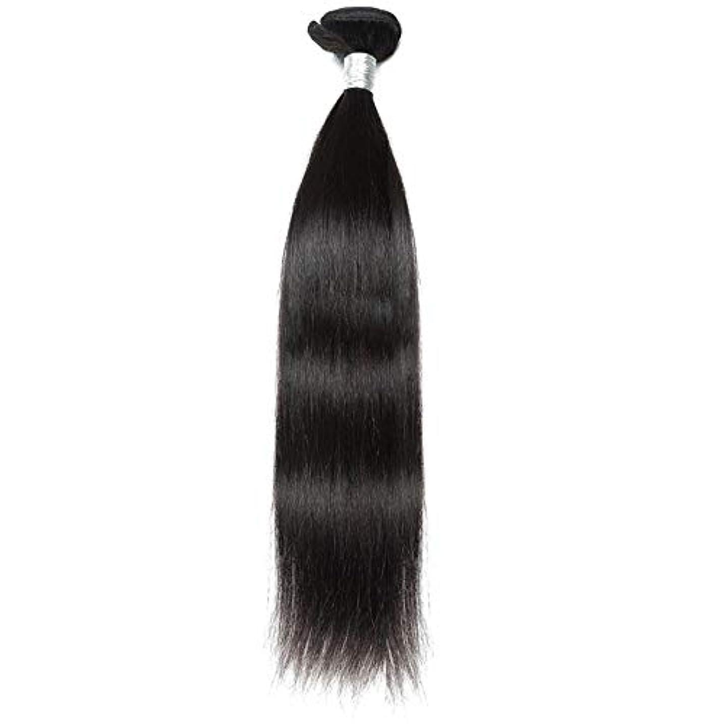 ファイバ適用するすきWASAIO ブラジルのバージン毛なめらかな単純明快な人間が1つのバンドルナチュラルカラーの拡張バンドルを編む(10インチ?26インチ) (色 : 黒, サイズ : 12 inch)