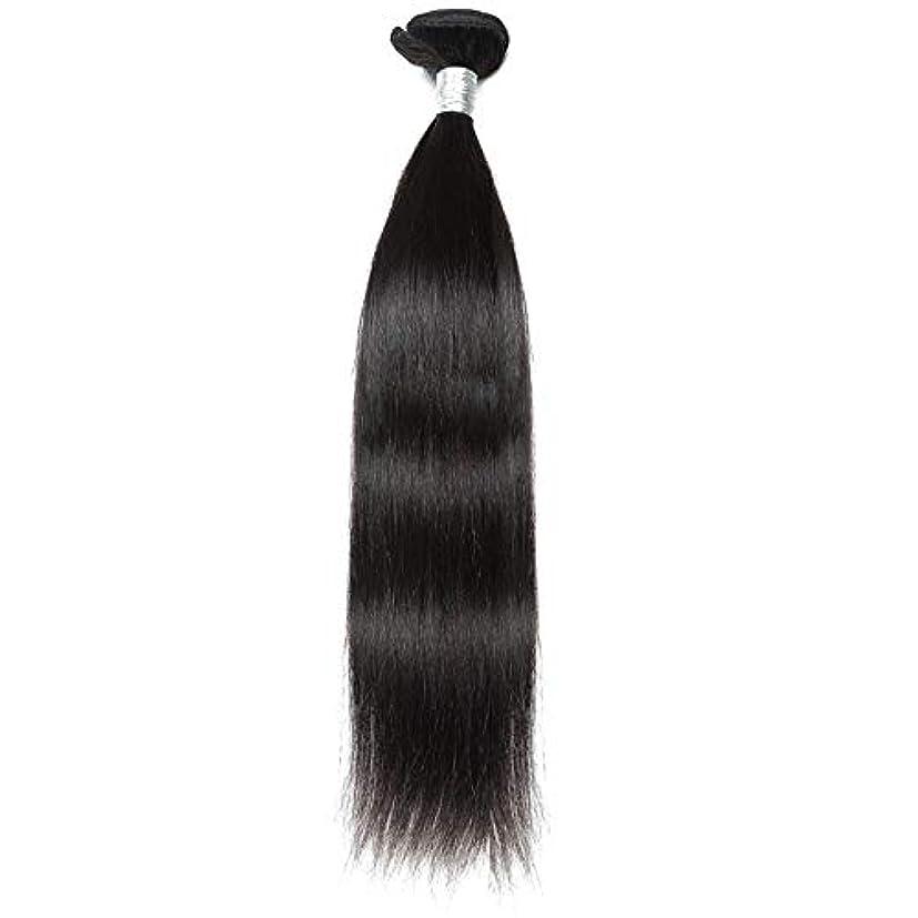 ターミナル自然週末WASAIO ブラジルのバージン毛なめらかな単純明快な人間が1つのバンドルナチュラルカラーの拡張バンドルを編む(10インチ?26インチ) (色 : 黒, サイズ : 12 inch)