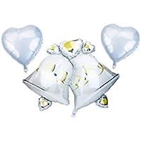 Lumierechat ウェディング バルーン 結婚式 装飾 特大サイズ 風船 ハート & ベル 飾りリボン セット
