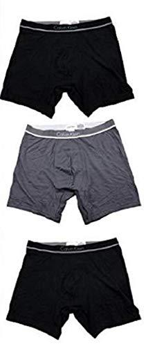 [カルバンクライン] Calvin Klein ボクサーパンツ 3枚セット 2タイプ ブラック グレー ブルー (XL, Aタイプ) [並行輸入品]