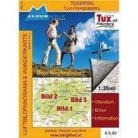 Zillertal Tux-Finkenberg 1 : 35 000 Luftbildpanorama und Wanderkarte: Wandern, Biken, Information