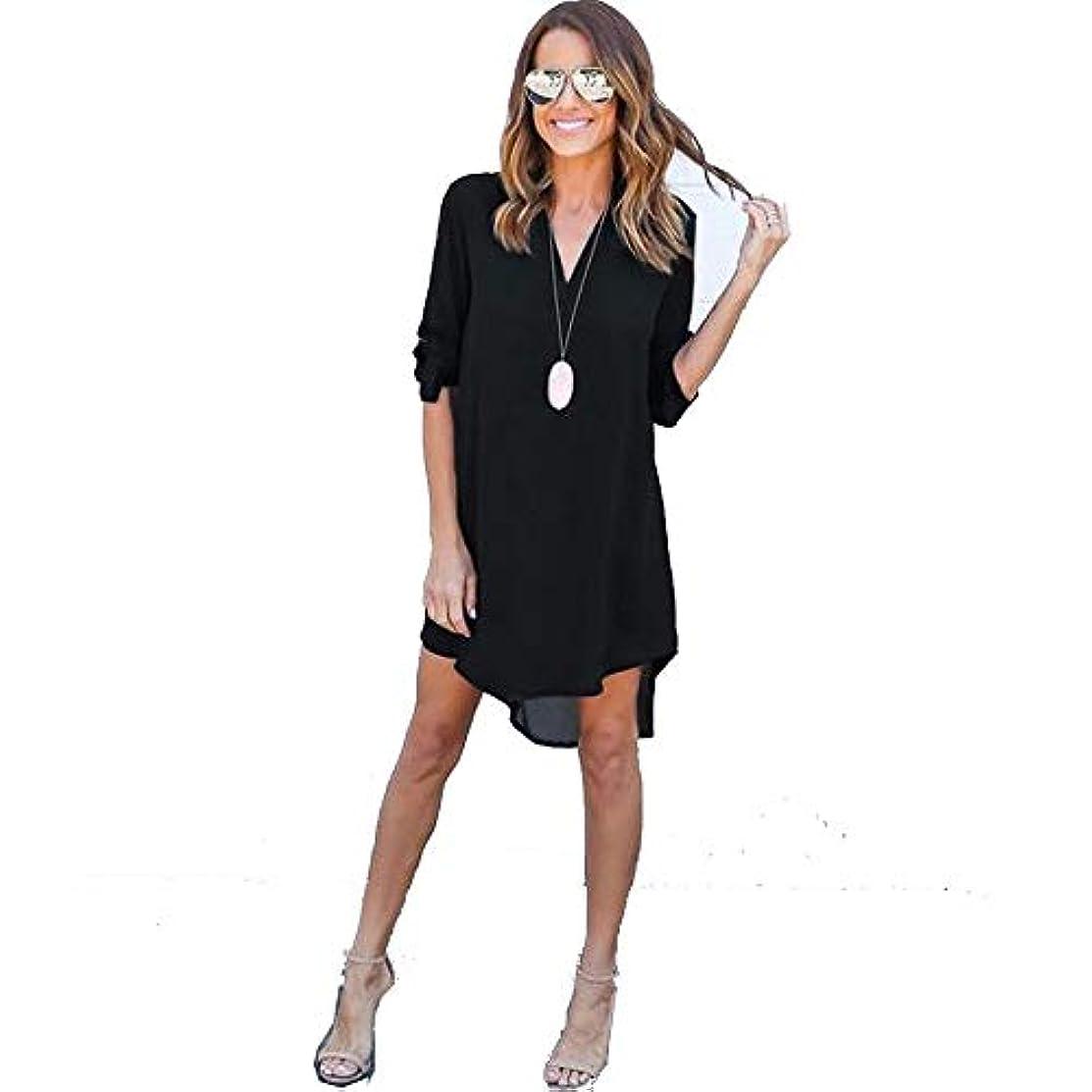 無傷足首モバイルMIFAN女性ドレス、シフォン、Vネック、無地、長袖、ゆったり、ミニドレス、Tシャツドレス