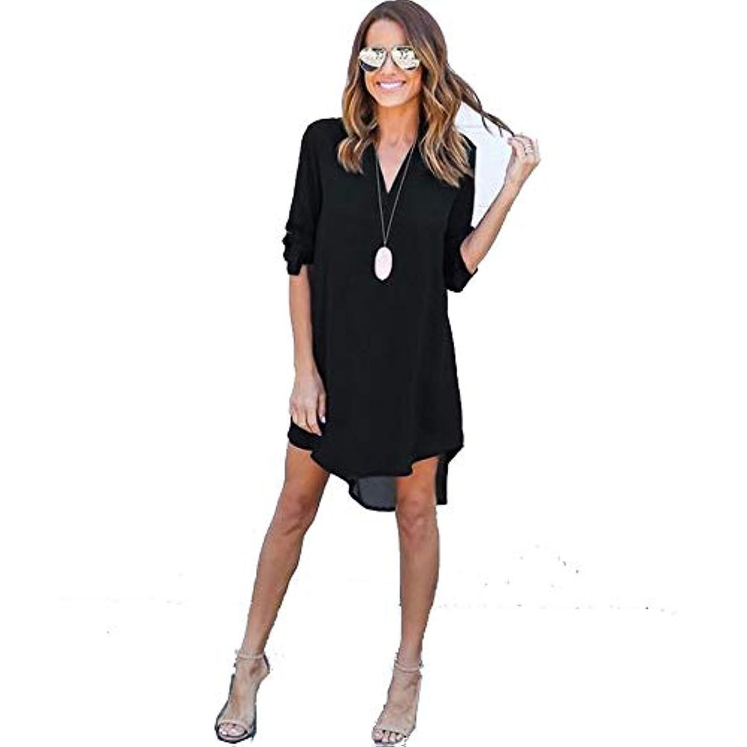 接ぎ木仕出します自分自身MIFAN女性ドレス、シフォン、Vネック、無地、長袖、ゆったり、ミニドレス、Tシャツドレス