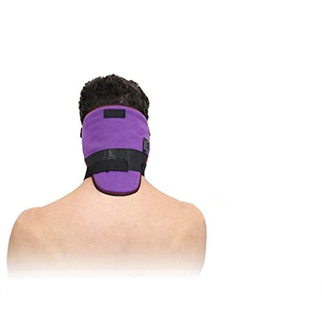 リブ面積スポンジUSBネックマッサージャー、加熱ネックバンドヘッドコールドプロテクション、遠赤外線ネックホットコンプレス電気頸部バンド、ホットコンプレスマッスル、血液循環の促進、男性