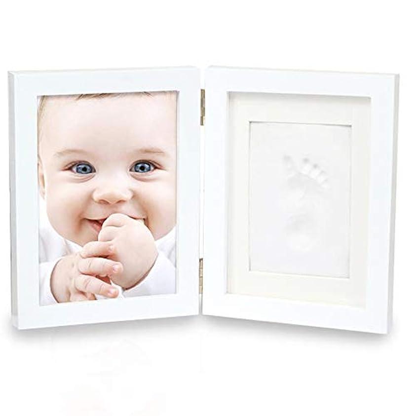 貧困東ティモールソファー赤ちゃん 手形 足形フレーム 7インチの二つ折り新生児手と足のプリント泥ベビーベビーハンド&フットプリント泥フォトフレームセットでカバー 出産祝いの用品に最適です (Color : White, Size : One size)