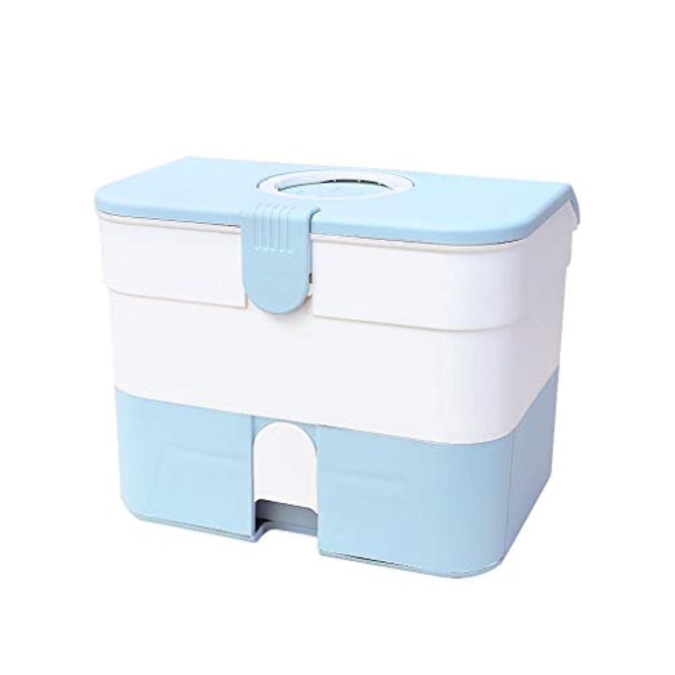 ファシズムチューインガムサラダ家庭用薬箱薬大容量収納箱家族医療ポータブル多層医療箱 HUXIUPING (Color : Blue)