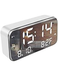 Powbacksy 音楽目覚まし時計 デジタル 置き時計 大型LEDミラー表面デザイン 表示時間、日付、曜日、温度、アラーム3組、25曲 三段輝度自動調節 USB電源式 (ホワイト)