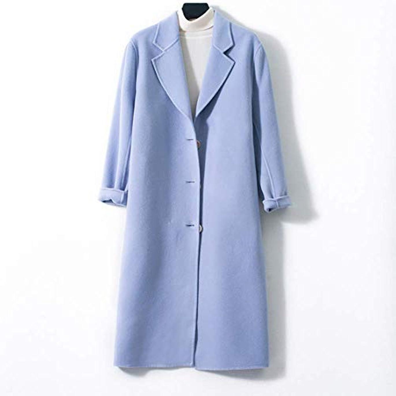 打ち負かす飛躍専門ロングウールコート、両面ウールコートレディース大きいサイズの婦人服レディースジャケットレディースコートレディースウインドブレーカージャケット,ブルー,S
