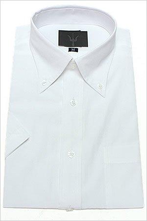 半袖ボタンダウン 白無地 ワイシャツ ボタンダウン 半袖ワイシャツ メンズ 半袖 Yシャツ Mサイズ