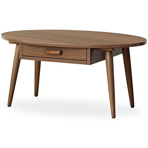 岩附  楕円形ローテーブル 収納付き 木製 ブラウン B00OB440WA 1枚目