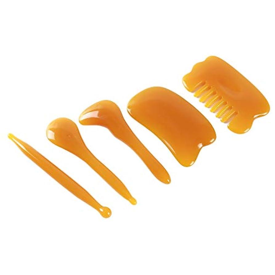 依存消毒する緩めるHonel カッサプレート こする櫛 頭部のマッサージ こするプレート 手動 スパ マッサージツール カッサ板 カッサマッサージ道具 5ピース