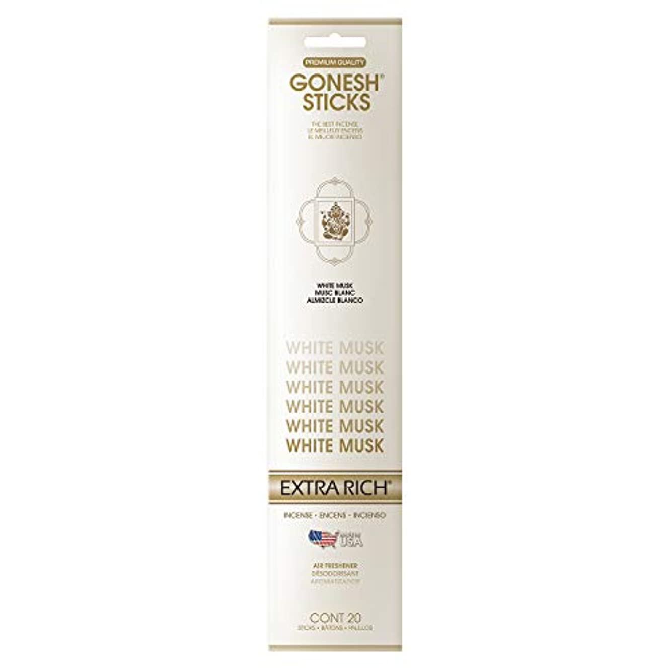 GONESH インセンススティック ホワイトムスク(ホワイトフローラルの甘さとシャボンの清潔感ある香り)