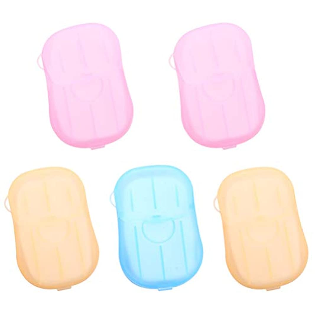 好意ごめんなさいかわいらしいHealifty 5pcs乾燥石鹸は、発泡ボックスの紙の石鹸のフレークを洗うハンドバス石鹸のスライドシート