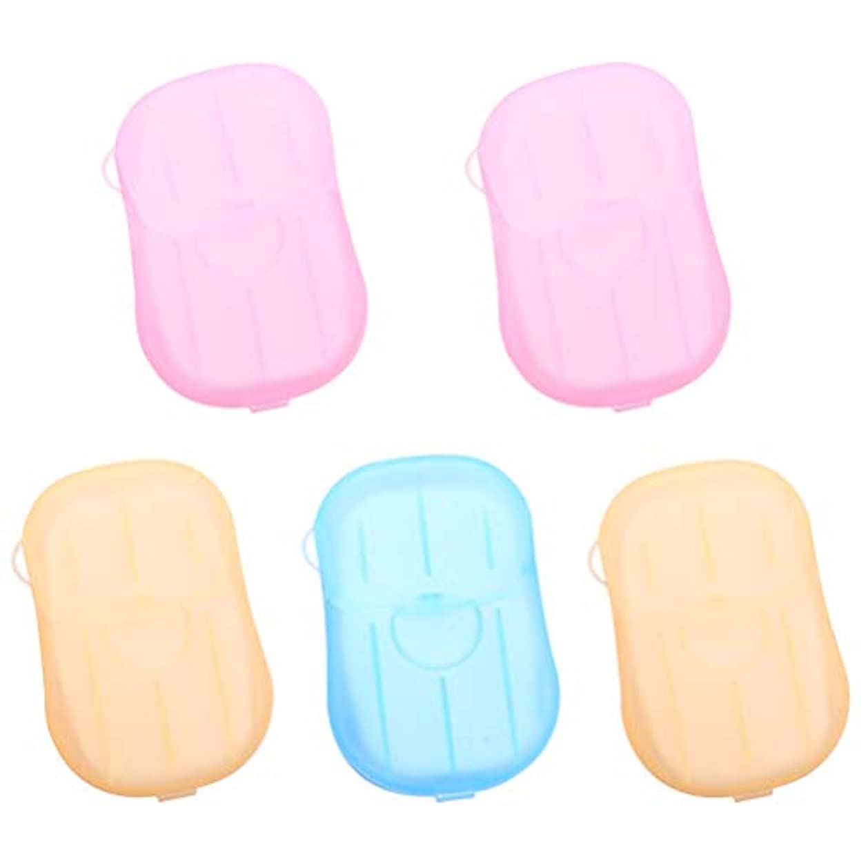 億物足りない盲目Healifty 5pcs乾燥石鹸は、発泡ボックスの紙の石鹸のフレークを洗うハンドバス石鹸のスライドシート