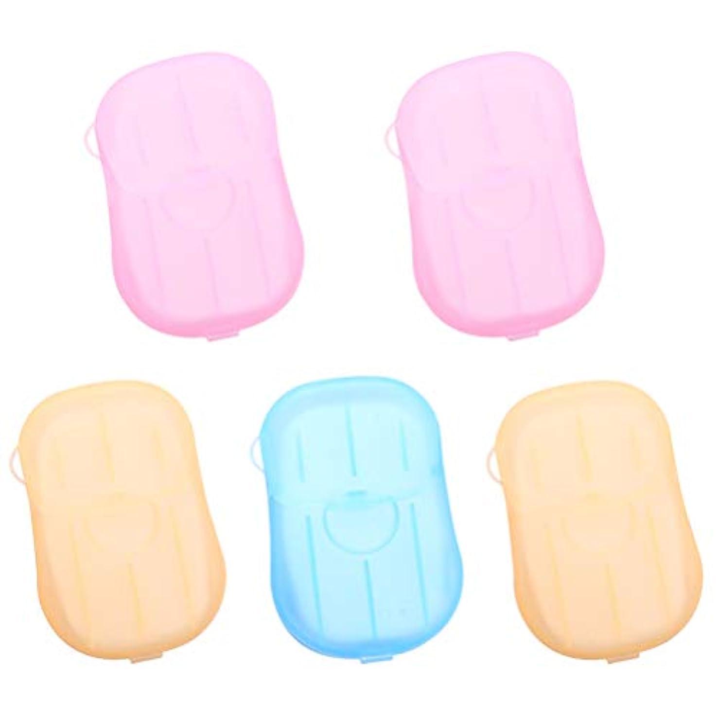 カートリッジ微生物Healifty ポータブルディスポーザブルクリーニングペーパーソープフレークソープボックス5個付き(1 *ブルー+2 *ピンク+2 *イエロー)