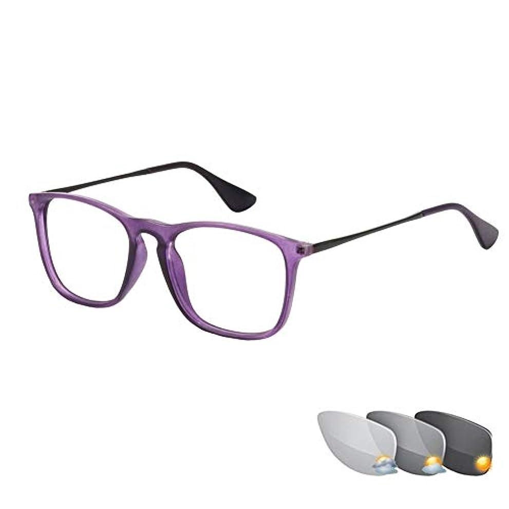 狂った毎月拒否レトロなスマートな色を変える老眼鏡、ファッションの男性と女性の高解像度メガネ、抗UV抗放射線ゴーグル、目の疲労を緩和
