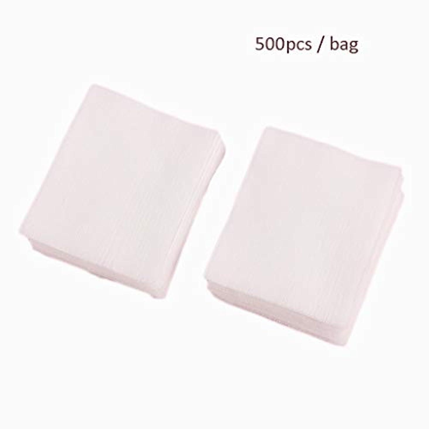 屋内不変アトムクレンジングシート 500ピース/バッグフェイシャルオーガニックコットンパッドフェイシャルクリーニングネイルポリッシュリムーバー化粧品ティッシュメイクアップ美容スキンケアツール (Color : White, サイズ : 5*6.2cm)