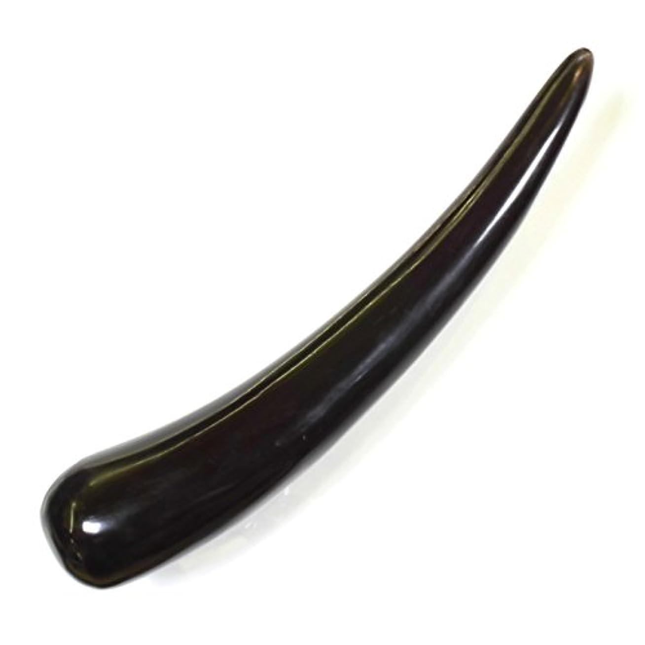 克服するグレー素朴な水牛の角 ツボ押し 黒水牛角 特大13 長さ20cm