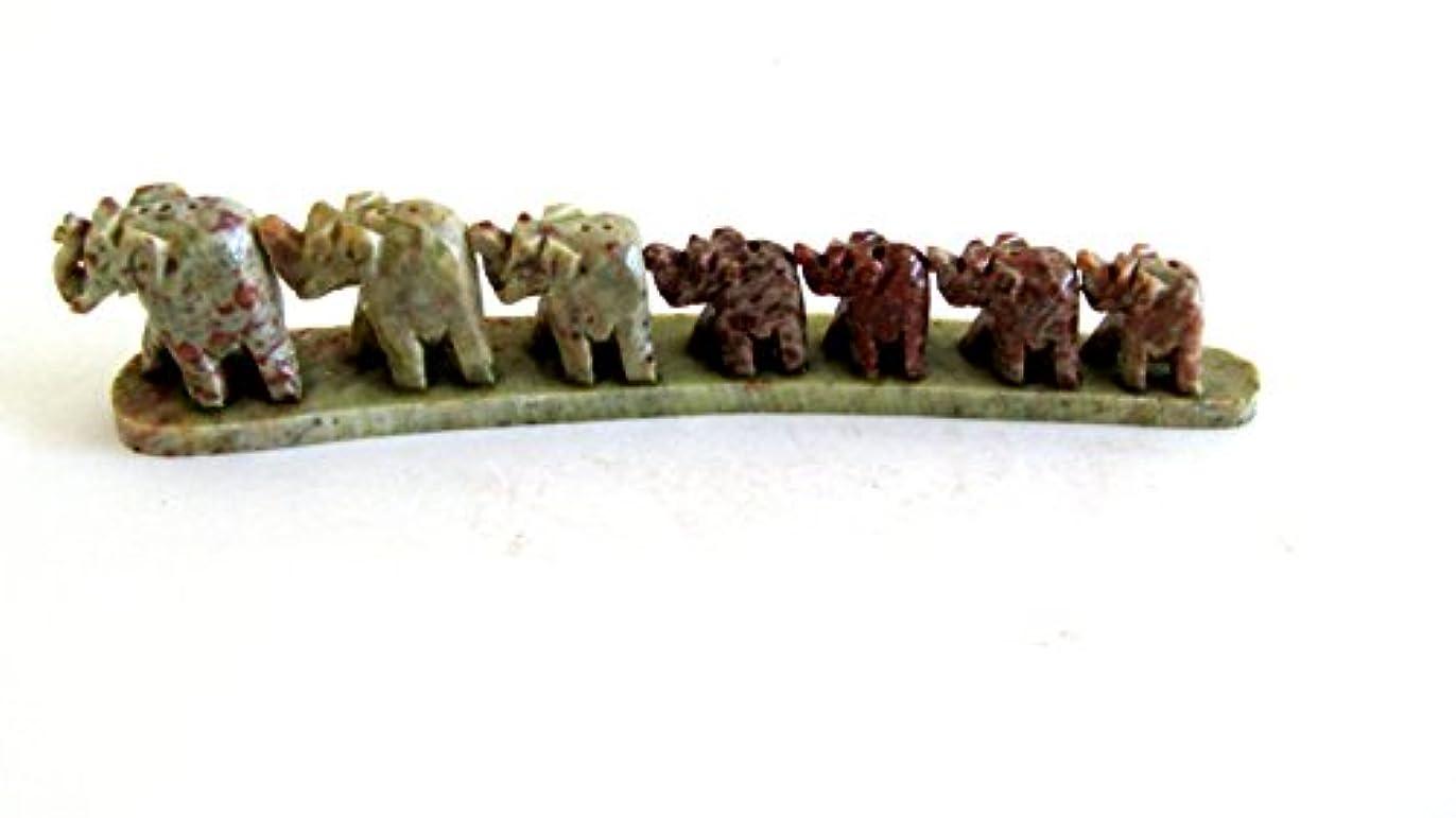 インポート領事館閲覧するOma Elephant Shaped Incense BurnerソープストーンElephant TrailファミリStatue – ハンドメイド