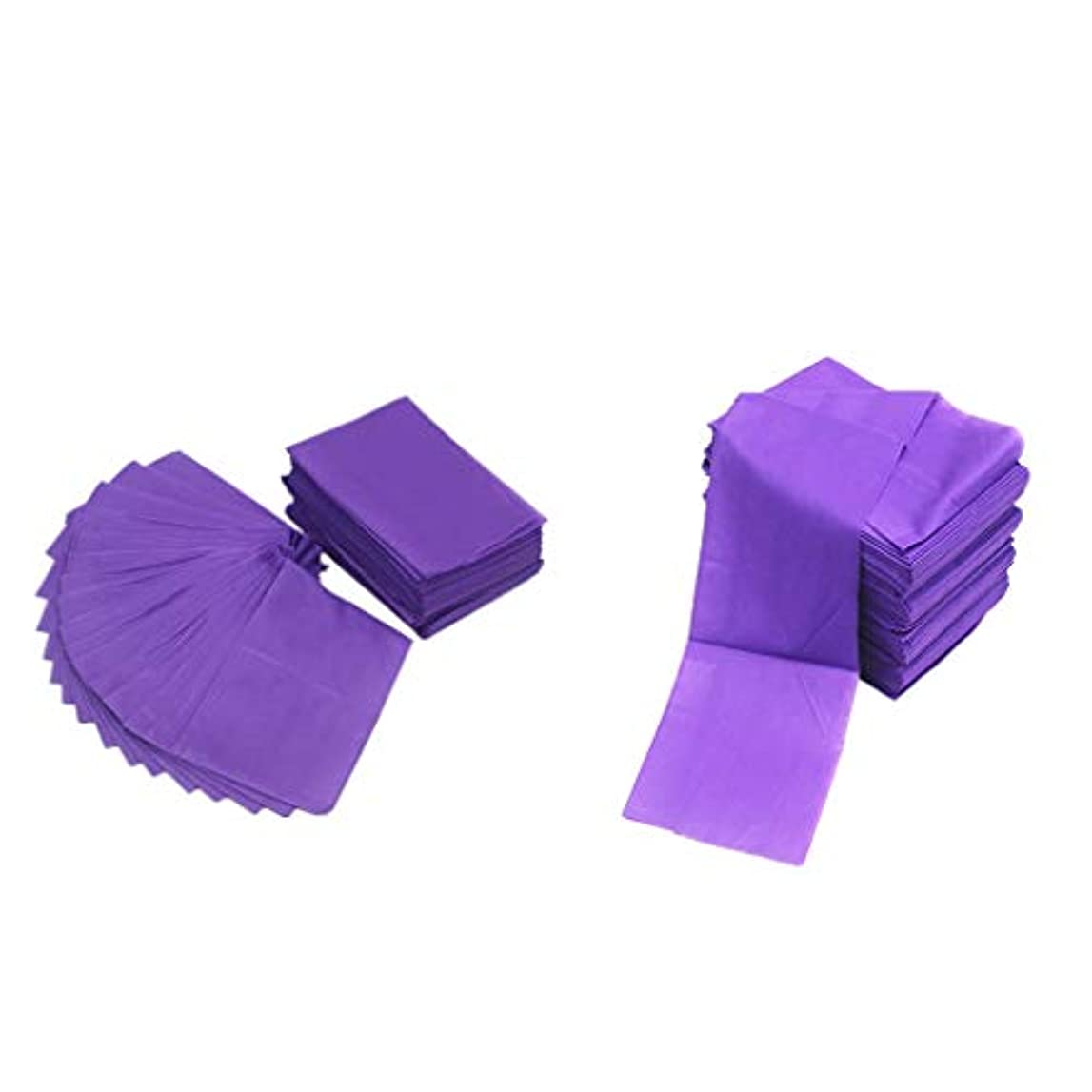 サスペンション物理用心深いテーブルシーツ ベッドカバー マッサージ ベットシート 不織布 使い捨て 防水 パープル 20ピースセット