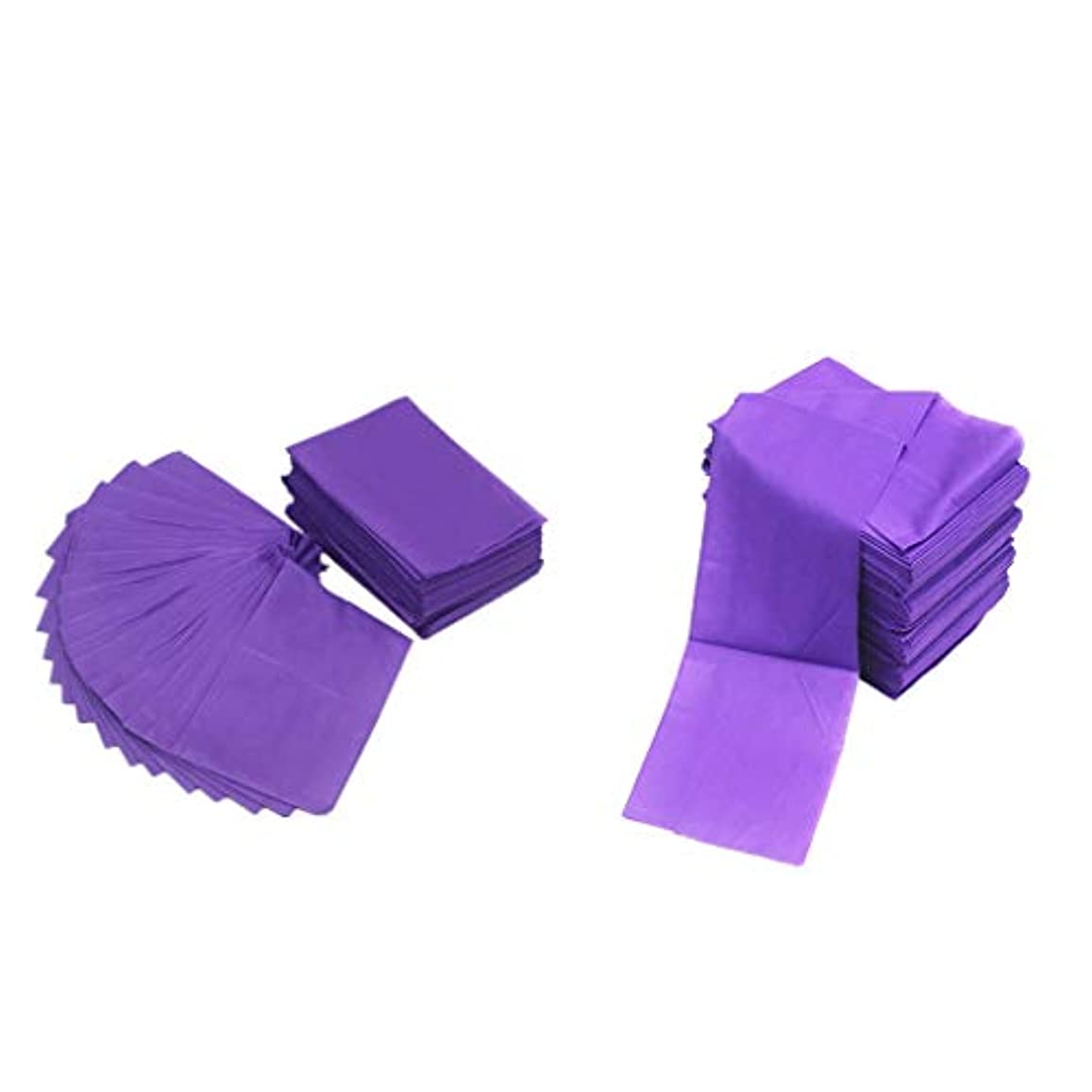 パラシュート珍味どこかテーブルシーツ ベッドカバー マッサージ ベットシート 不織布 使い捨て 防水 パープル 20ピースセット