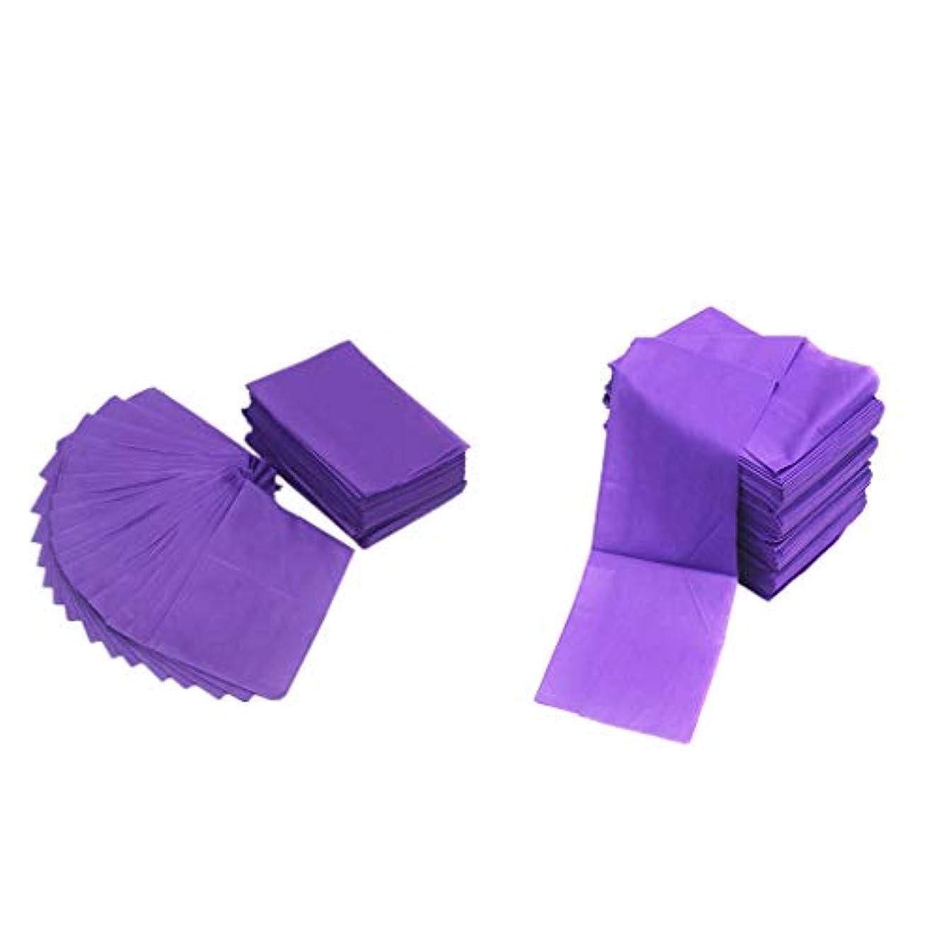 艶説明的クリップテーブルシーツ ベッドカバー マッサージ ベットシート 不織布 使い捨て 防水 パープル 20ピースセット