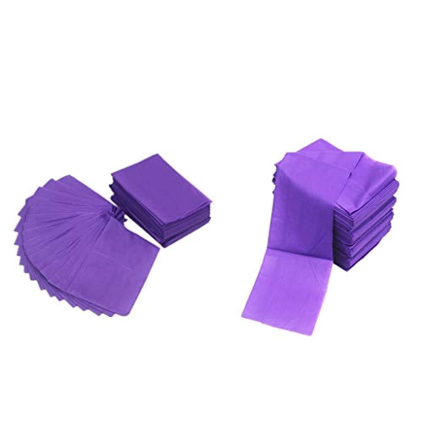 蓋スクリーチ振るうテーブルシーツ ベッドカバー マッサージ ベットシート 不織布 使い捨て 防水 パープル 20ピースセット
