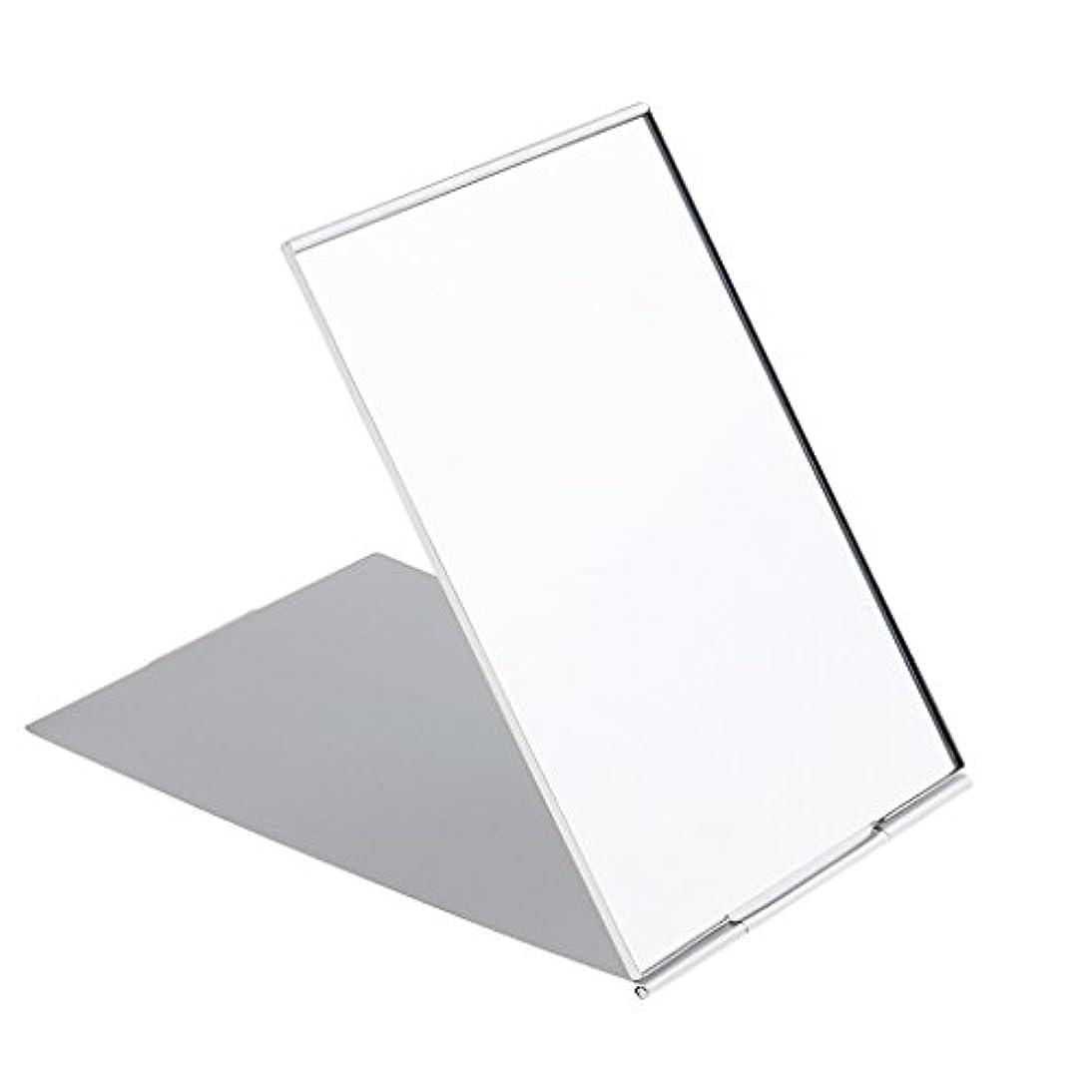 用量暗い本質的にミニ旅行ポータブル折り畳み式ハンドバッグポケットコンパクト化粧鏡シルバー - #1