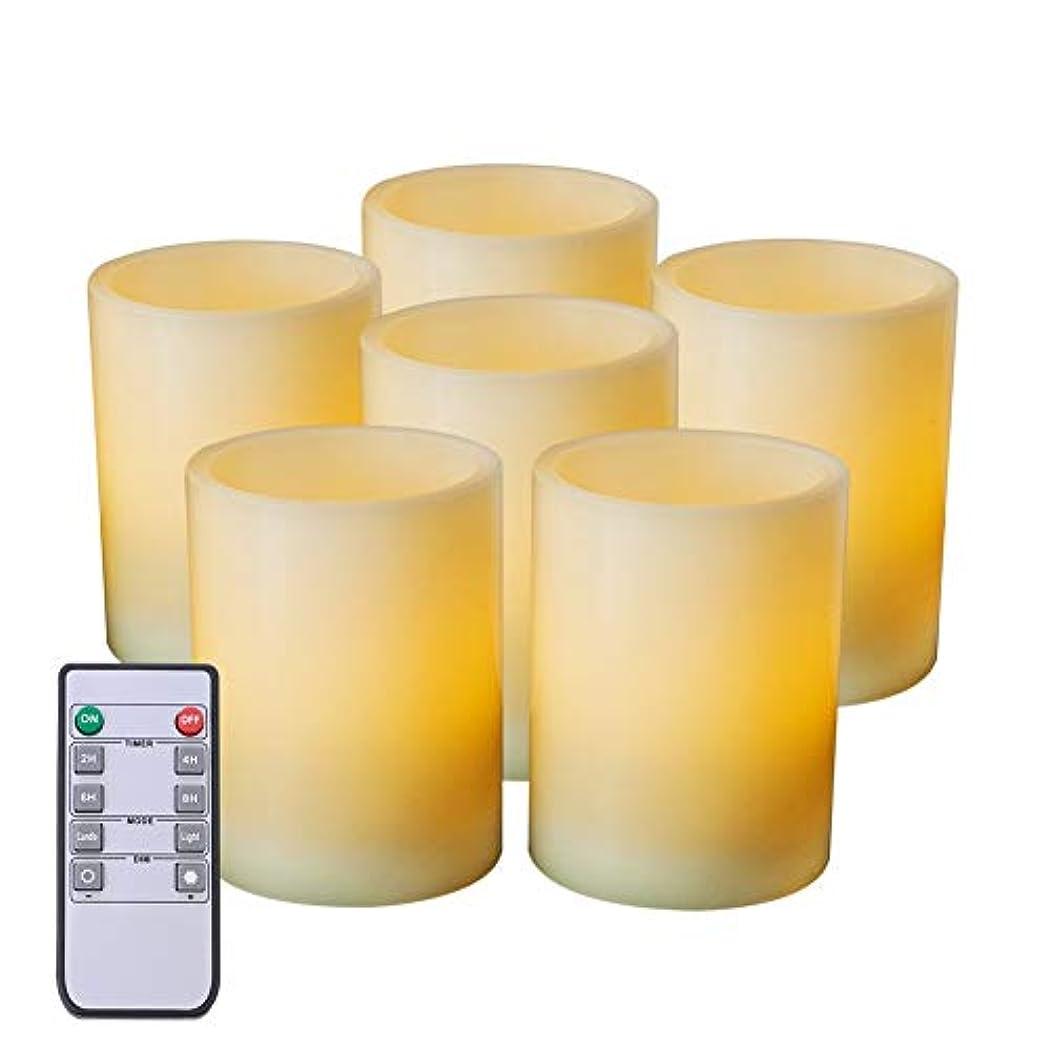 野球スリーブ証明書aMagic 6個パックLarge Flameless Candles withリモートとタイマー – RealワックスLEDピラーキャンドルバルク、電池式キャンドル、ホームデコレーションとギフト(ホワイト、プレーンエッジ、3