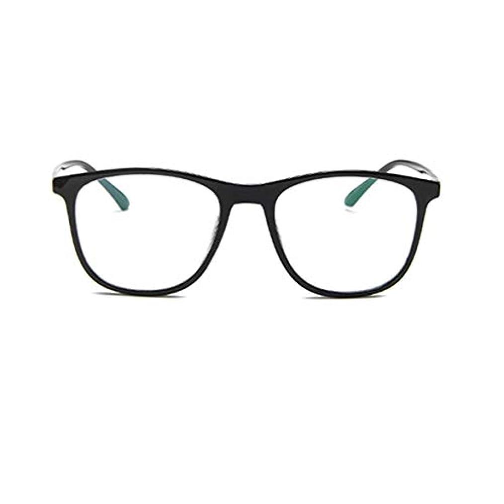 報奨金ライブムス韓国の学生のプレーンメガネの男性と女性のファッションメガネフレーム近視メガネフレームファッショナブルなシンプルなメガネ-ブライトブラック