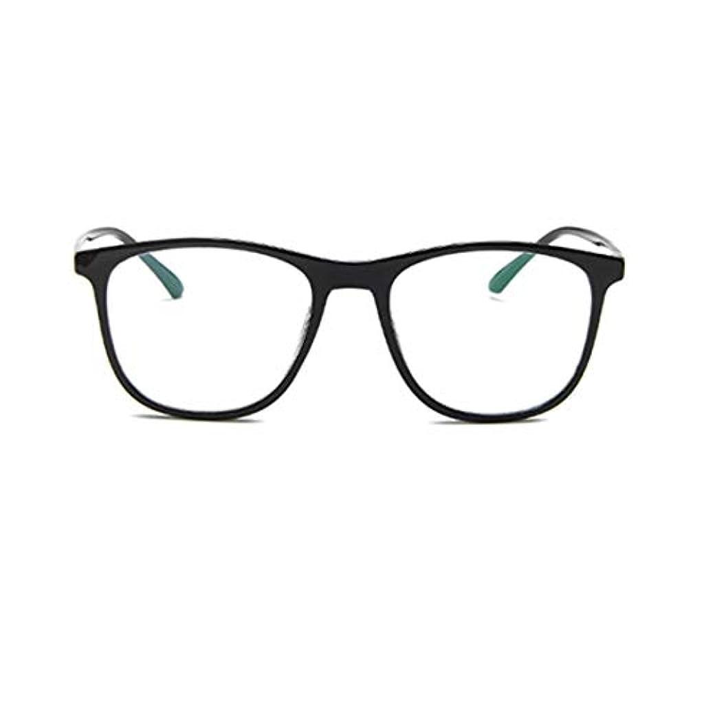 ごちそう治療学校韓国の学生のプレーンメガネの男性と女性のファッションメガネフレーム近視メガネフレームファッショナブルなシンプルなメガネ-ブライトブラック