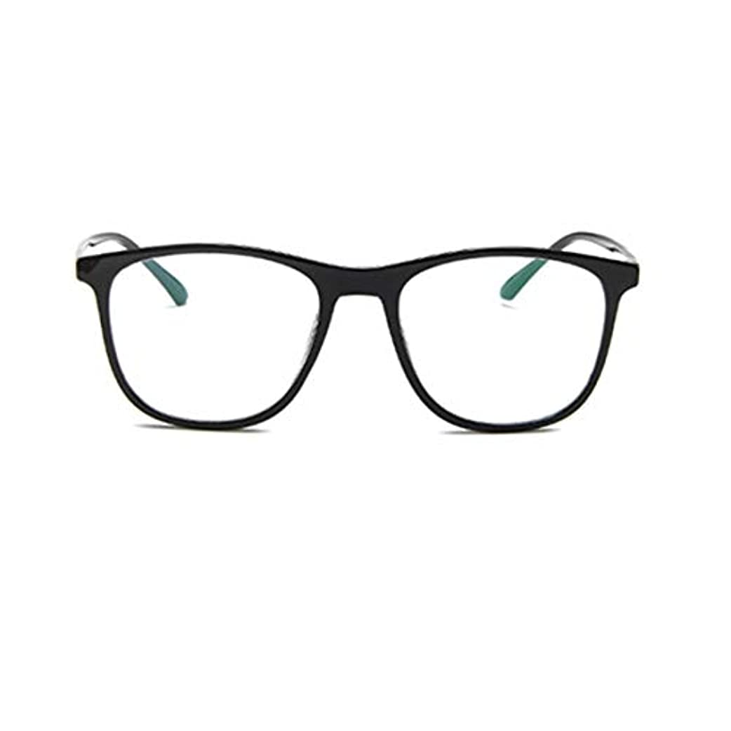 ウッズパートナー冷ややかな韓国の学生のプレーンメガネの男性と女性のファッションメガネフレーム近視メガネフレームファッショナブルなシンプルなメガネ-ブライトブラック