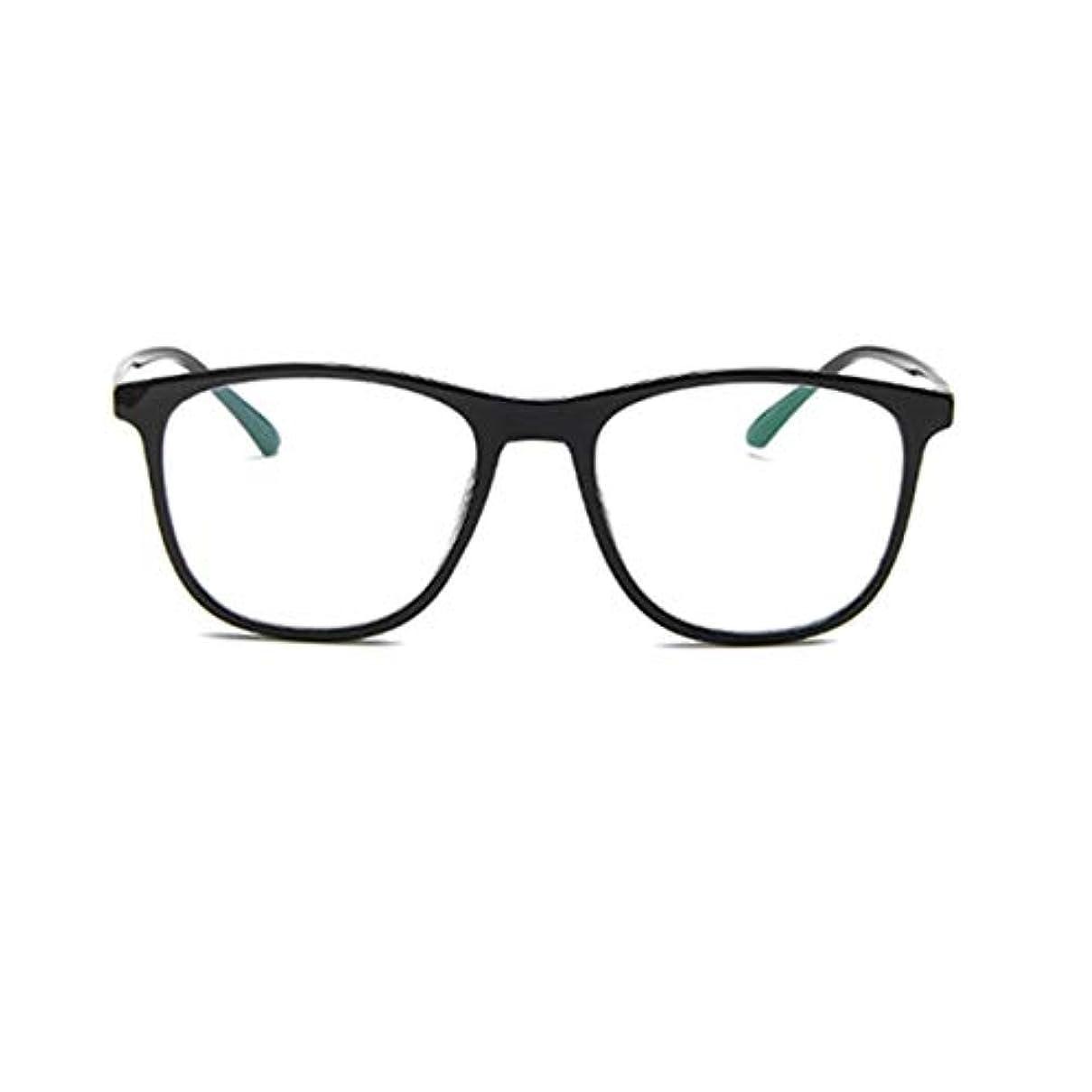 スキャンダラスレッドデートロール韓国の学生のプレーンメガネの男性と女性のファッションメガネフレーム近視メガネフレームファッショナブルなシンプルなメガネ-ブライトブラック