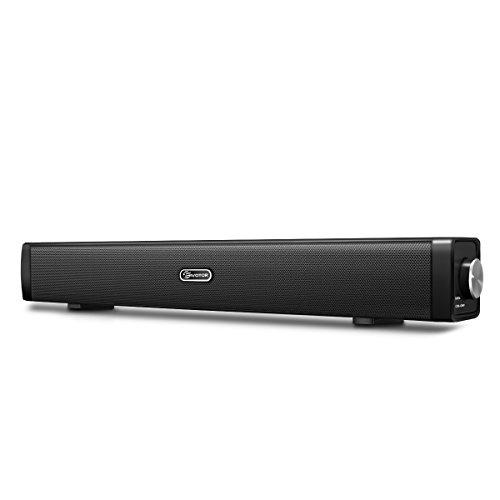 Bluetoothスピーカー EIVOTOR サウンドバー 2x5W スピーカー 10W Bluetooth4.2ワイヤレスと有線接続 SoundBar Speaker 高音質 マイク内蔵 小型 車載 日本語説明書付き ブラック