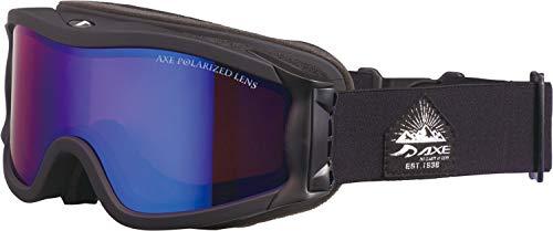 AXE(アックス) スキー 男女兼用 ゴーグル 偏光レンズ・ヘルメット対応・メガネ対応・ダブルレンズ・ノーズフィット・UVプロテクション マットブラック×ブルー OMW785P