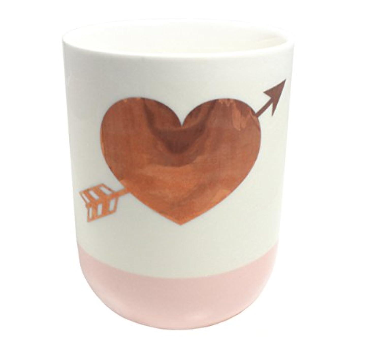 キルトミトン教育学2つの会社10.5-oz GildedハートローズScented Candle ;ホワイト&ピンク