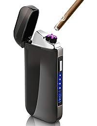 usbライター DIGOO 電子ライター 充電式 電子ターボライター 小型 自動消火 安全 軽量 バッテリー残量表示 led ガス・オイル不要 防風 防災 おしゃれ 収納ボックス付き プレゼント最適