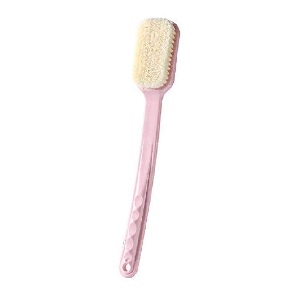 ピストル適応的風景TXC- 付ボディブラシ戻るブラシロングハンドルのお風呂シャワーブラシナチュラルたてがみスキンドライ竹木、バックブラシロング竹ハンドル滑り止め、エクスフォリエイティングブラシ 快適な (Color : Pink)