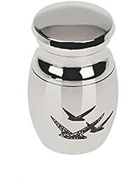 SONONIA パンク ステンレススチール 牛乳瓶形 鳩柄 ミニ骨壺 手元供養 ペンダント 銀色